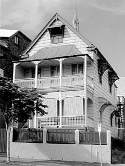A tall double storied Queenslander in Boundary Street